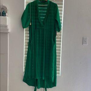 ZARA SHEER EMERALD GREEN DEEP V FRONT DRESS BNWT